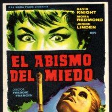 Cine: FOLLETO DE MANO: EL ABISMO DEL MIEDO, DAVID KNIGHT, MOIRA REDMOND - SIN PUBLICIDAD. Lote 99866703