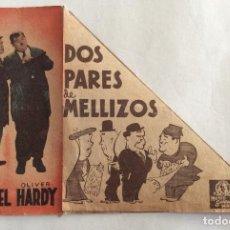 Cine: PROGRAMA CINE DOBLE. METRO GOLDWYN. STAN LAUREL, OLIVER HARDY. DOS PARES DE MELLIZOS . Lote 99893511