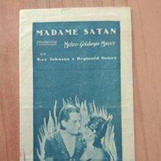 Cine: PROGRAMA TRIPTICO DE LA PELICULA--MADAME SATAN. Lote 99966735
