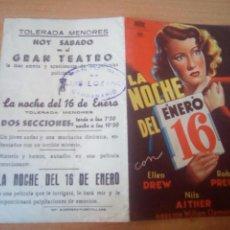 Cine: LA NOCHE DEL 16 DE ENERO. Lote 100035676