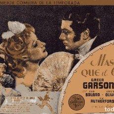 Cine: MAS FUERTE QUE EL ORGULLO - LAURENCE OLIVIER & GREER GARSON - METRO GOLDWYN MAYER. Lote 100087047