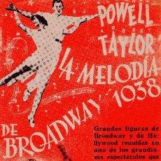 Cine: LA MELODIA DE BROADWAY 1938 - ROBERT TAYLOR & ELEANOR POWELL - METRO GOLDWYN MAYER. Lote 100089659