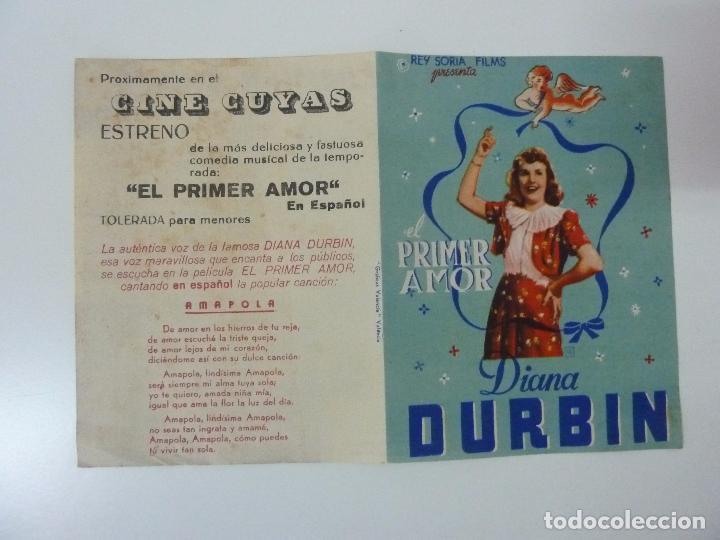 EL PRIMER AMOR. DIANA DURBIN. DOBLE CON PUBLICIDAD (Cine - Folletos de Mano - Musicales)