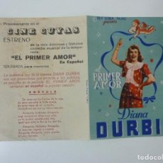 Cine: EL PRIMER AMOR. DIANA DURBIN. DOBLE CON PUBLICIDAD. Lote 100131027