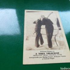 Cine: PROGRAMA DE CINE CARTÓN. A TODA VELOCIDAD. AÑOS 30. Lote 100218684