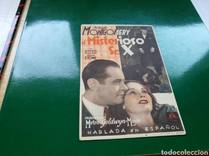 PROGRAMA DE CINE DE CARTÓN. EL MISTERIOSO SEÑOR X. AÑOS 30 (Cine - Folletos de Mano - Terror)
