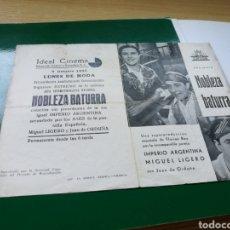 Cine: PROGRAMA DE CINE DOBLE. NOBLEZA BATURRA CON PUBLICIDAD DEL IDEAL CINEMA DE ALICANTE. AÑOS 30. Lote 100219830