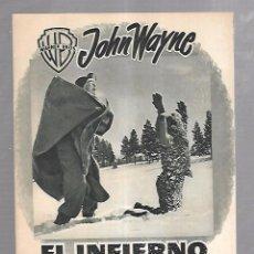 Cine: GUIA DE CINE. JOHN WAYNE. EL INFIERNO BLANCIO. WARNER BROS. ILUSTRADO. 8 PAGINAS. Lote 100501951