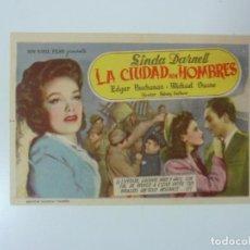 Folhetos de mão de filmes antigos de cinema: PROGRAMA. LA CIUDAD SIN HOMBRES. C/P. Lote 100586131