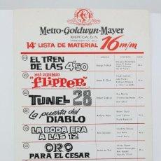Cine: 14ª LISTA DE MATERIAL / PELÍCULAS METRO GOLDWYN MAYER 16 MM - 5º FESTIVAL TOM Y JERRY, TUNEL 28.... Lote 101351903