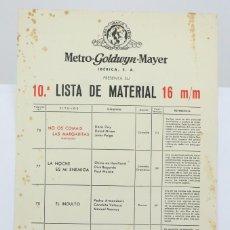 Cine: 10ª LISTA DE MATERIAL / PELÍCULAS METRO GOLDWYN MAYER 16 MM - EL INDULTO, LA NOCHE ES MI ENEMIGA.... Lote 101352015