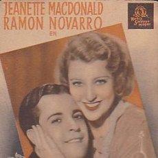 Cine: PROGRAMA DE MANO PELICULA EL GATO Y EL VIOLIN JEANETTE MACDONALD Y RAMON NOVARRO. Lote 101430563