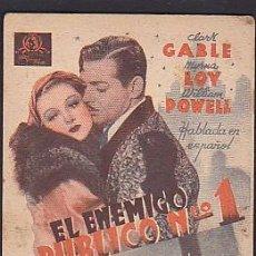 Cine: EL ENEMIGO PUBLICO Nº 1 CLARK GABLE MYRNA LOY WILLIAM POWELL. Lote 101431295