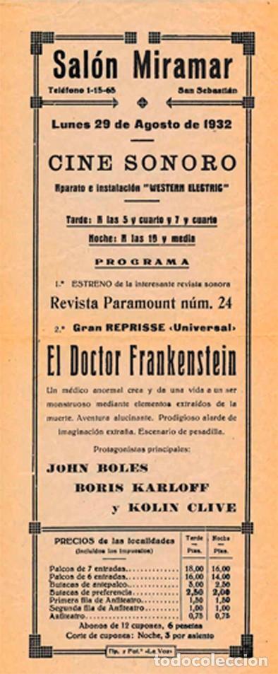 EL DOCTOR FRANKENSTEIN (FRANKENSTEIN) (Cine - Folletos de Mano - Terror)
