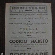 Cine: ROSE MARIE -PROGRAMA LOCAL MASNOU - GUERRA CIVIL -CNT AIT - AÑO 1937 -VER FOTOS- (C-4004). Lote 101484711