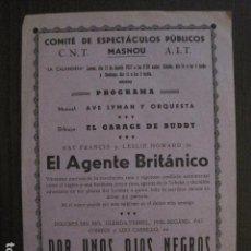 Cine: POR UNOS OJOS NEGROS -PROGRAMA LOCAL MASNOU - GUERRA CIVIL -CNT AIT - AÑO 1937 -VER FOTOS- (C-4009). Lote 101484979