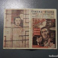 Cine: MUY RARO PROGRAMA DE CINE, DOBLE, LA BATALLA, ANNABELLA, ARAJOL, CINEMA DIANA, 1942. Lote 101525171