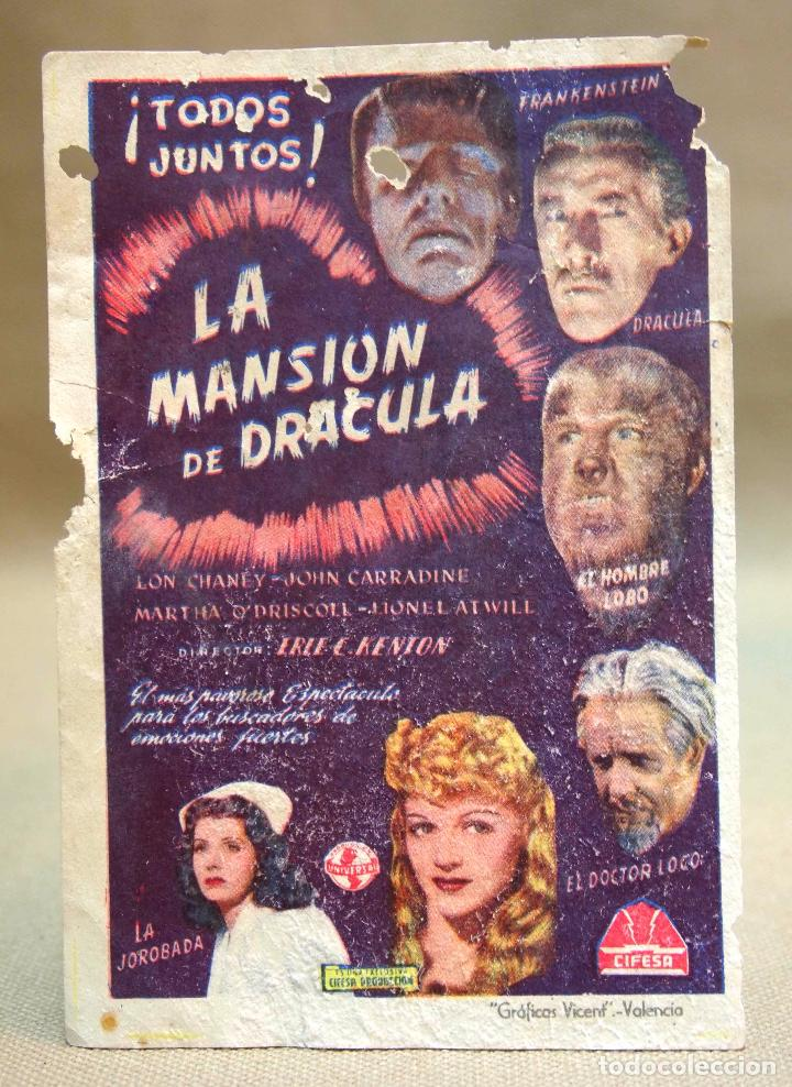 ANTIGUO FOLLETO DE MANO, PROGRAMA DE CINE, LA MANSION DE DRACULA, TERROR, LON CHANEY, CIFESA (Cine - Folletos de Mano - Terror)