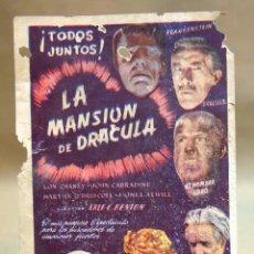 Cine: ANTIGUO FOLLETO DE MANO, PROGRAMA DE CINE, LA MANSION DE DRACULA, TERROR, LON CHANEY, CIFESA. Lote 101989223