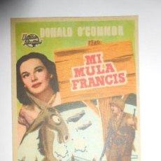 Cine: PROGRAMA DE CINE - LA MULA FRANCIS - CON PUBLICIDAD - NUEVO - FOTO DORSO. Lote 127777320