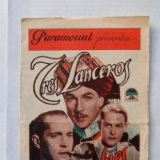 Cine: RARO TRES LANCEROS BENGALIES GARY COOPER DOBLE CON CINE. Lote 102370075