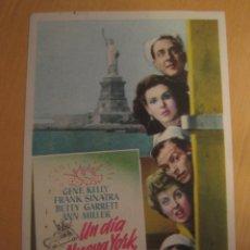 Cine: UN DIA EN NUEVA YORK FRANK SINATRA FOLLETO DE MANO ORIGINAL ESTRENO CON CINE IMPRESO PERFECTO ESTADO. Lote 102464323