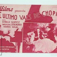 Cine: PROGRAMA DE CINE DOBLE - EL ULTIMO VALS DE CHOPIN / SYBILLE SCHMITZ - UFILMS. Lote 102705387