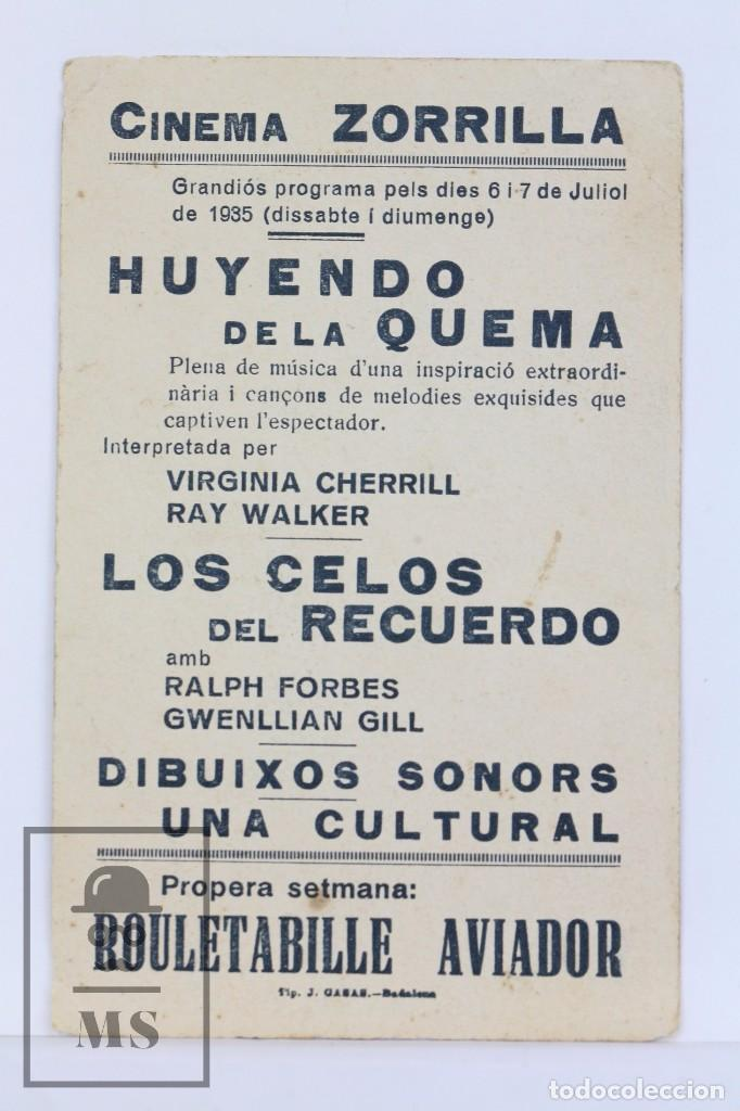 Cine: Programa de Cine Simple - Huyenda De La Quema / Virginia Cherrill, Ray Walker - I.B.I Films - 1935 - Foto 2 - 102709147