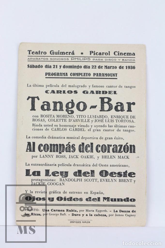 Cine: Programa de Cine Simple - Tango Bar / Carlos Gardel, Rosita Moreno - Paramount- 1936 - Foto 2 - 102709407
