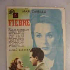 Cine: FOLLETO CINE DOBLE FIEBRE U FIMS. CINEMA DIANA 1943. Lote 102738747
