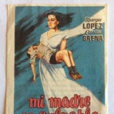Cine: PROGRAMA CON CINE IMPRESO. MARGA LÓPEZ. CARLOS BAENA. MI MADRE ES CULPABLE.. Lote 102821631