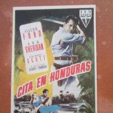 Cine: CITA EN HONDURAS , GLENN FORD , TEATRO IRIS , ZARAGOZA 1956. Lote 103154407