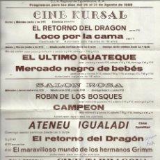 Cine: PROGRAMA DE MANO. EL RETORNO DEL DRAGON, CAMPEON, ROBIN DE LOS BOSQUES, LOCO POR LA CAMA, 1980. Lote 103207131