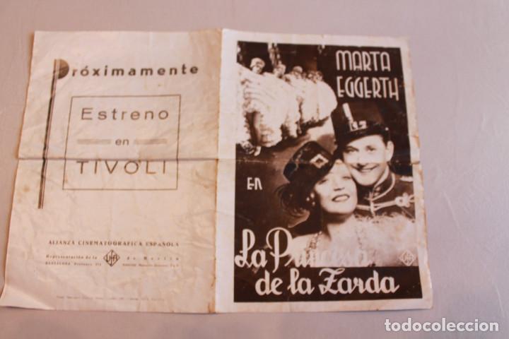 LA PRINCESA DE LA ZARDA. MARTA EGGERTH. INFORMACIÓN FOTOS. (Cine - Folletos de Mano - Musicales)