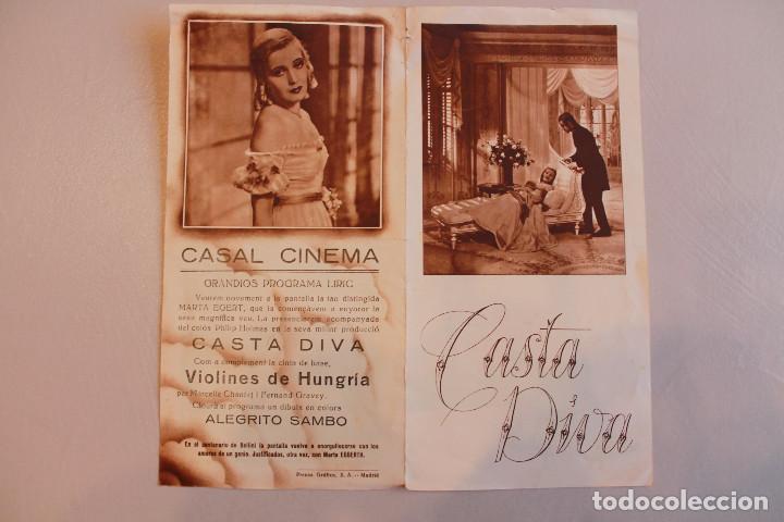 CASTA DIVA. MARTA EGGERTH Y PHILIPP HOLMES. INFORMACIÓN FOTOS. (Cine - Folletos de Mano - Musicales)