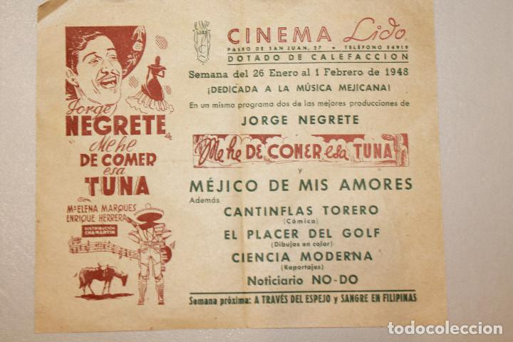 ME HE DE COMER MESA TUNA. JORGE NEGRETE. INFORMACIÓN FOTOS. (Cine - Folletos de Mano - Musicales)