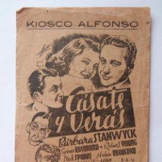 Cine: RARILLO PROGRAMA DE MANO CASATE Y VERAS LOCAL KIOSKO ALFONSO A CORUÑA. Lote 103751895
