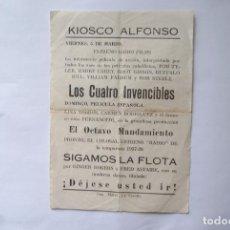 Cine: KIOSKO ALFONSO 3 PELICULAS LOCAL LOS CUATRO INVENCIBLES EL OCTAVO MANDAMIENTO SIGAMOS LA FLOTA AÑOS . Lote 103752131