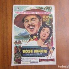Cine: PROGRAMA DE CINE FOLLETO DE MANO ROSA MARIE DEL1957CON PUBLICIDAD VER FOTOS. Lote 103859855