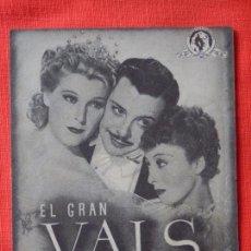 Cine: EL GRAN VALS,DOBLE, LIONEL ATWILL FERNAND GRAVEY, CON PUBLI CINE EUTERPE . Lote 103860731