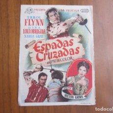 Cine: PROGRAMA DE CINE FOLLETO ESPADAS CRUZADAS EL PAYASO DEL1956 CON PUBLICIDAD VER FOTOS. Lote 103861179