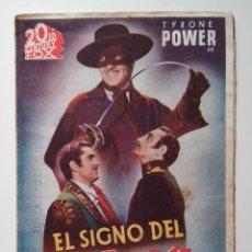 Cine: PROGRAMA DE MANO,FOLLETO CINE DOBLE ORIGINAL, EL SIGNO DEL ZORRO. Lote 103882923