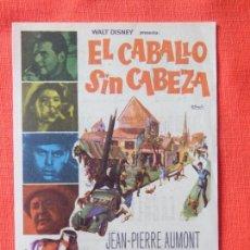 Cine: EL CABALLO SIN CABEZA, IMPECABLE SENCILLO, WALT DISNEY, CON PUBLI AVENIDA 1965. Lote 107929036
