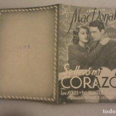 Cine: FOLLETO CINE DOBLE SE LLEVO MI CORAZON. CINE NORBA DE CACERES. Lote 104090571