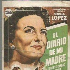 Cine: MARGA LOPEZ PROGRAMA DE MANO DEL FILM EL DIARIO DE MI MADRE CON PUBLICIDAD AL DORSO. Lote 104104419