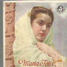 Cine: MARIA FELIX PROGRAMA DE MANO DEL FILM ENAMORADA CON PUBLICIDAD AL DORSO. Lote 104104471
