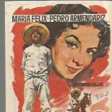 Cine: MARIA FELIX PROGRAMA DE MANO DEL FILM LA VALENTINA CON PUBLICIDAD AL DORSO. Lote 104104543