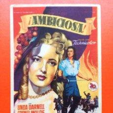 Foglietti di film di film antichi di cinema: TEATRO CERVANTES JAEN- PROGRAMA SOLIGO - AMBICIOSA. LINDA DARNELL,CORNEL WILDE,GEORGE SANDERS. Lote 233486570