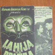Cine: LA HIJA DE DRÁCULA 1938 - ANTIGUO FOLLETO DOBLE ORIGINAL - CINE DE VAMPIROS -. Lote 104387711