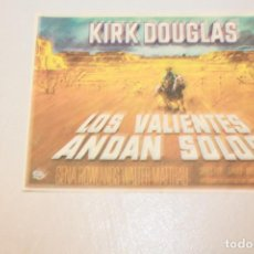Cine: LOS VALIENTES ANDAN SOLOS. KIRK DOUGLAS, GENA ROWLANDS Y WALTER MATTHAU. INFORMACIÓN Y FOTOS.. Lote 122177178